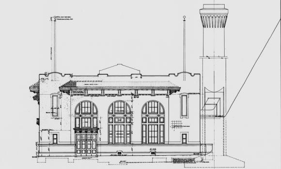 HAER-CA-1- AWSS fire pump 2 front facade plan view